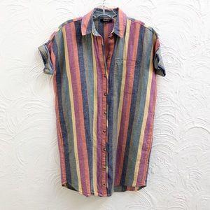 Madewell Linen Courier Shirtdress Rainbow Stripe